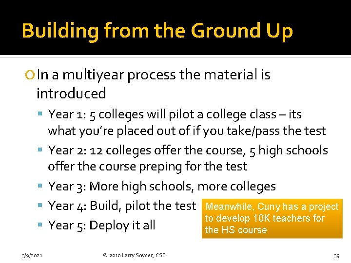 Building from the Ground Up In a multiyear process the material is introduced Year