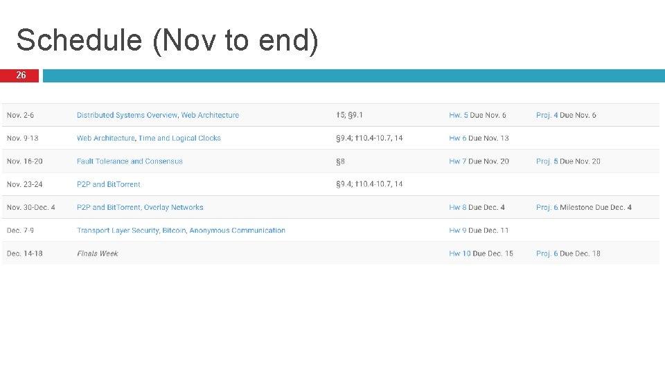Schedule (Nov to end) 26
