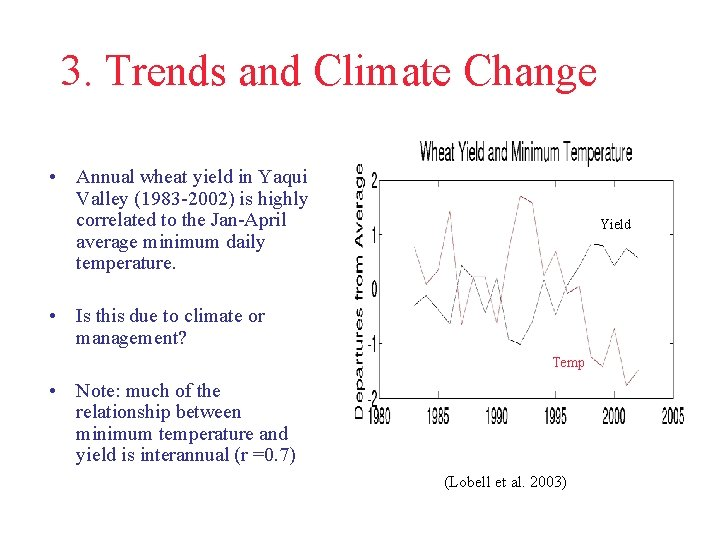3. Trends and Climate Change • Annual wheat yield in Yaqui Valley (1983 -2002)