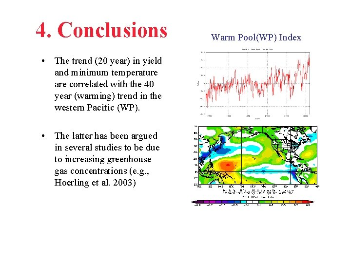4. Conclusions • The trend (20 year) in yield and minimum temperature are correlated