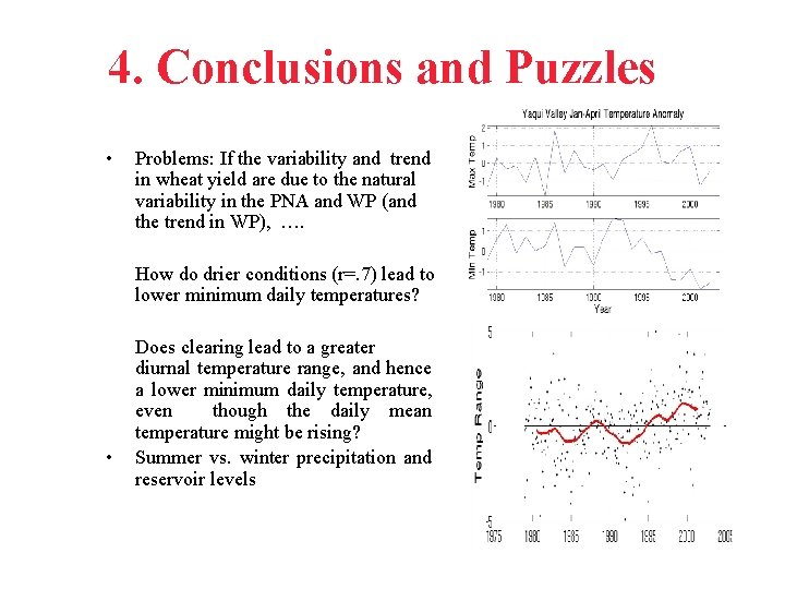 4. Conclusions and Puzzles • Problems: If the variability and trend in wheat yield