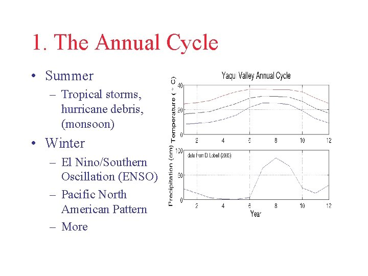 1. The Annual Cycle • Summer – Tropical storms, hurricane debris, (monsoon) • Winter