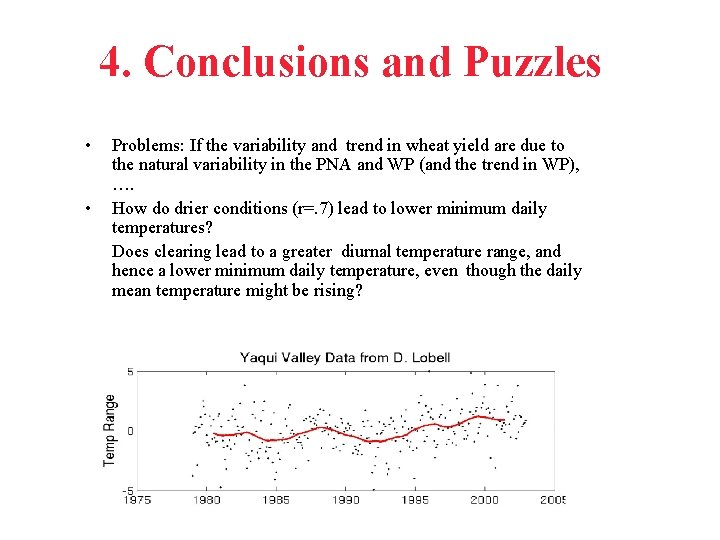 4. Conclusions and Puzzles • • Problems: If the variability and trend in wheat