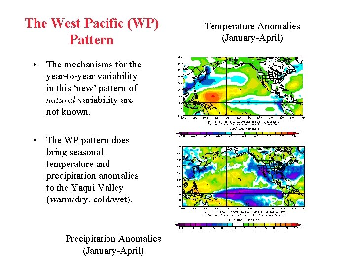 The West Pacific (WP) Pattern • The mechanisms for the year-to-year variability in this