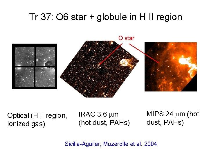 Tr 37: O 6 star + globule in H II region O star Optical
