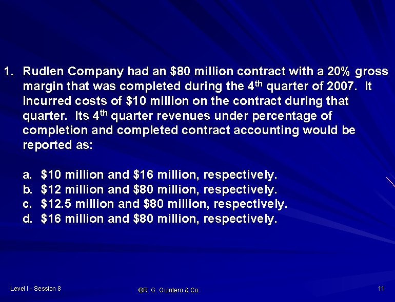 1. Rudlen Company had an $80 million contract with a 20% gross margin that