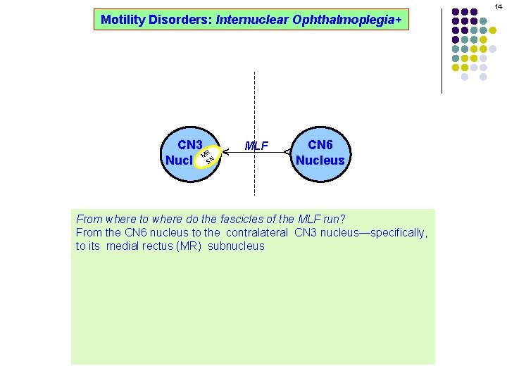 14 MLF CN 6 Nucleus ^ CN 3 R M SN Nucleus ^ Motility