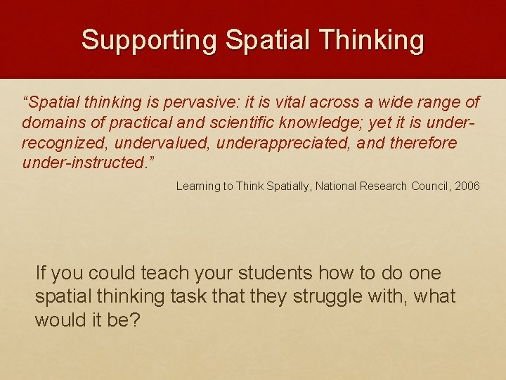 """Supporting Spatial Thinking """"Spatial thinking is pervasive: it is vital across a wide range"""