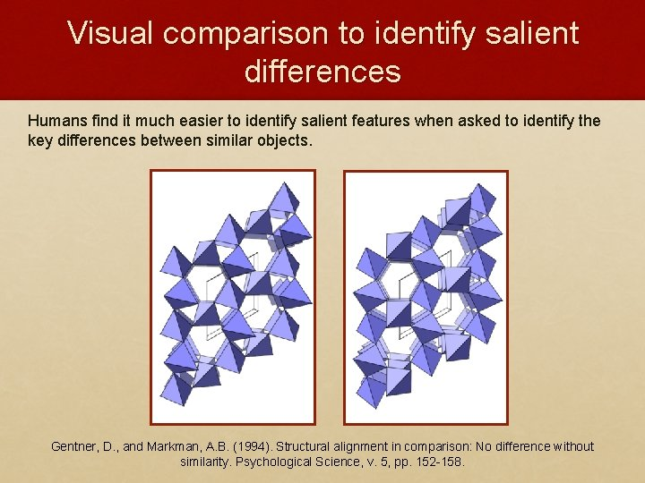Visual comparison to identify salient differences Humans find it much easier to identify salient