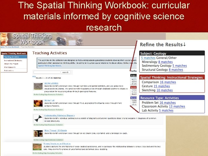 The Spatial Thinking Workbook: curricular materials informed by cognitive science research