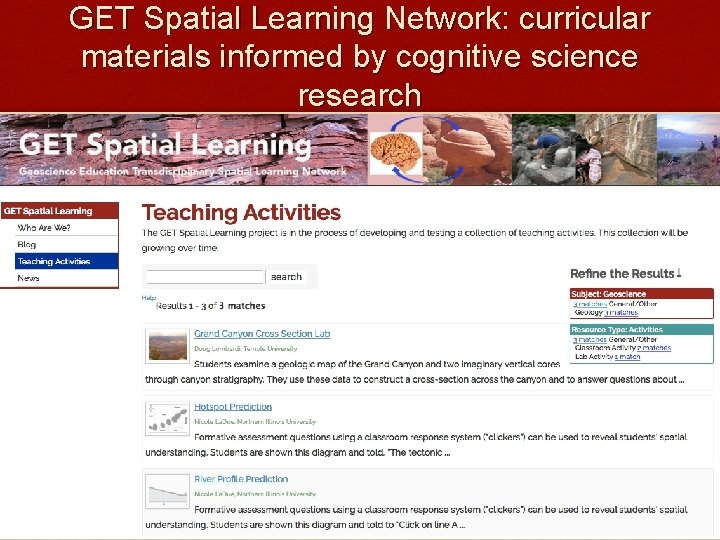 GET Spatial Learning Network: curricular materials informed by cognitive science research
