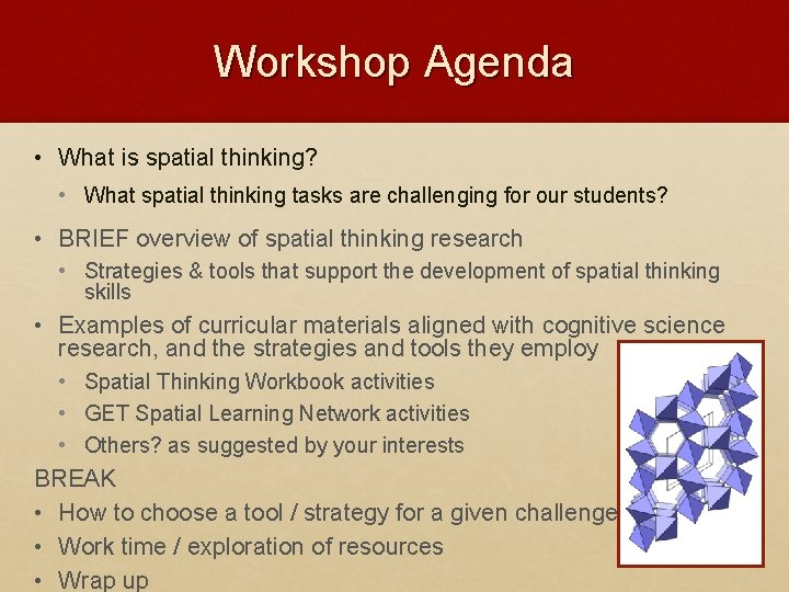 Workshop Agenda • What is spatial thinking? • What spatial thinking tasks are challenging