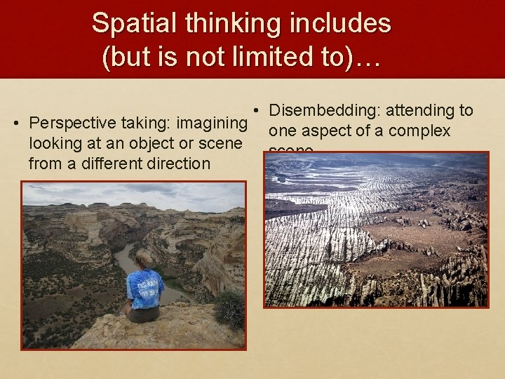 Spatial thinking includes (but is not limited to)… • Disembedding: attending to • Perspective
