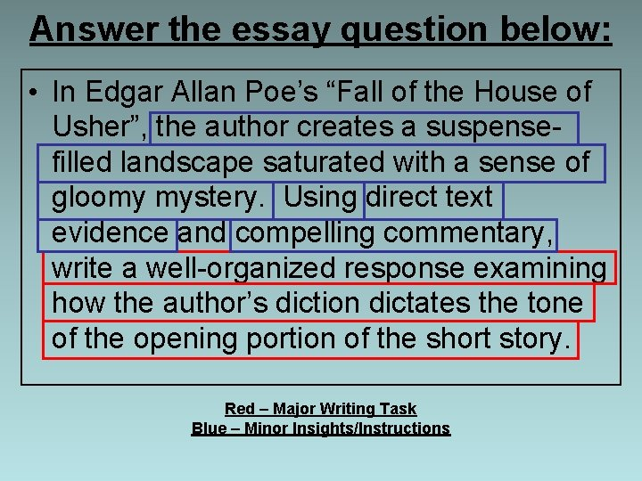 """Answer the essay question below: • In Edgar Allan Poe's """"Fall of the House"""