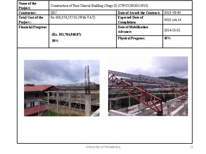 Name of the Construction of Para Clinical Building (Stage II) (CW/CON/2011/910) Project: Contractor: SEC