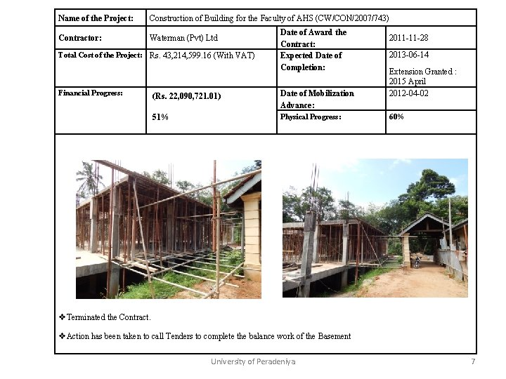 Name of the Project: Construction of Building for the Faculty of AHS (CW/CON/2007/743) Contractor: