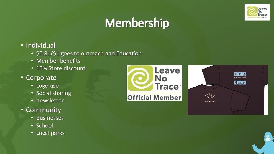 Membership • Individual • • • $0. 81/$1 goes to outreach and Education Member