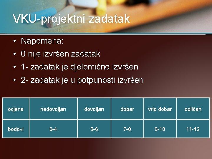 VKU-projektni zadatak • Napomena: • 0 nije izvršen zadatak • 1 - zadatak je