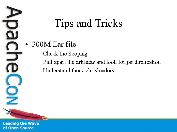 Tips and Tricks • 300 M Ear file Check the Scoping Pull apart the