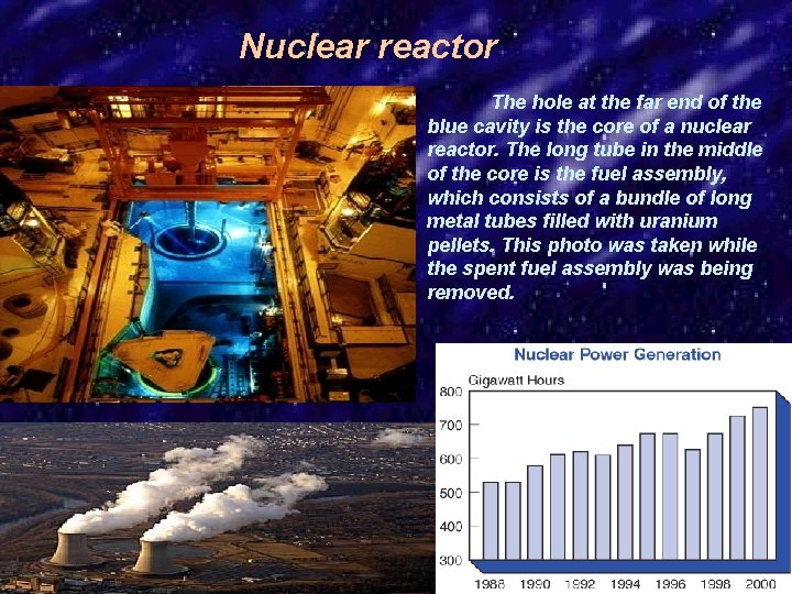 Nuclear reactor The hole at the far end of the blue cavity is the