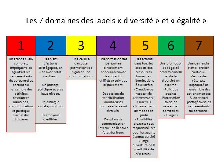 Les 7 domaines des labels « diversité » et « égalité »