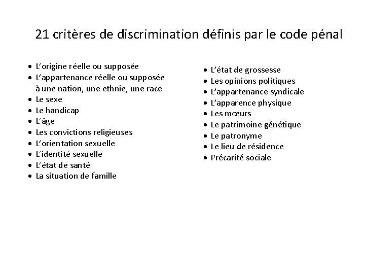21 critères de discrimination définis par le code pénal L'origine réelle ou supposée L'appartenance