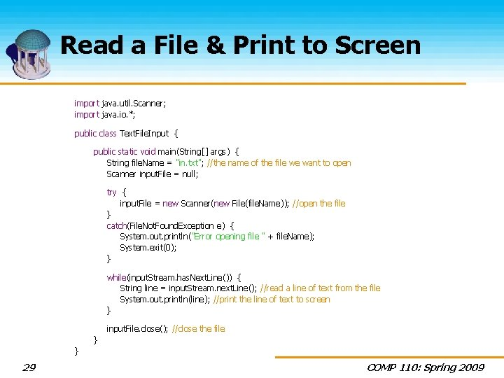 Read a File & Print to Screen import java. util. Scanner; import java. io.