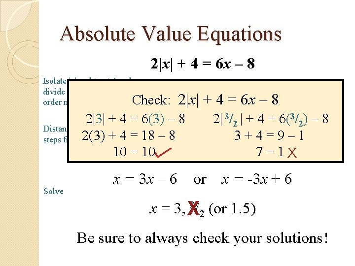 Absolute Value Equations 2|x| + 4 = 6 x – 8 Isolate |x|: subtract