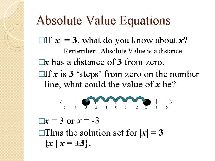 Absolute Value Equations �If |x| = 3, what do you know about x? Remember: