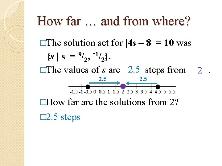 How far … and from where? �The solution set for |4 s – 8|