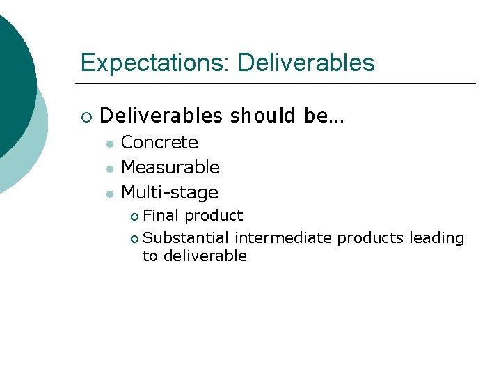 Expectations: Deliverables ¡ Deliverables should be… l l l Concrete Measurable Multi-stage Final product