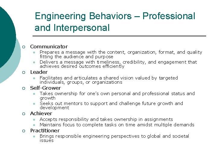 Engineering Behaviors – Professional and Interpersonal ¡ Communicator l l ¡ Leader l ¡