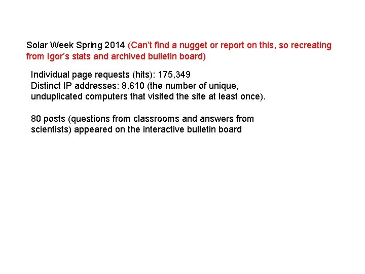 Solar Week Spring 2014 (Can't find a nugget or report on this, so recreating