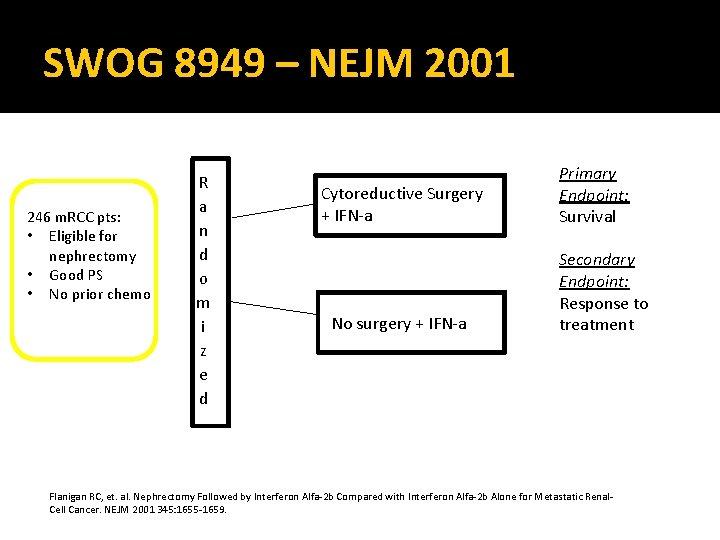 SWOG 8949 – NEJM 2001 246 m. RCC pts: • Eligible for nephrectomy •