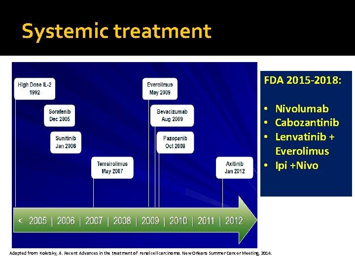 Systemic treatment FDA 2015 -2018: • Nivolumab • Cabozantinib • Lenvatinib + Everolimus •
