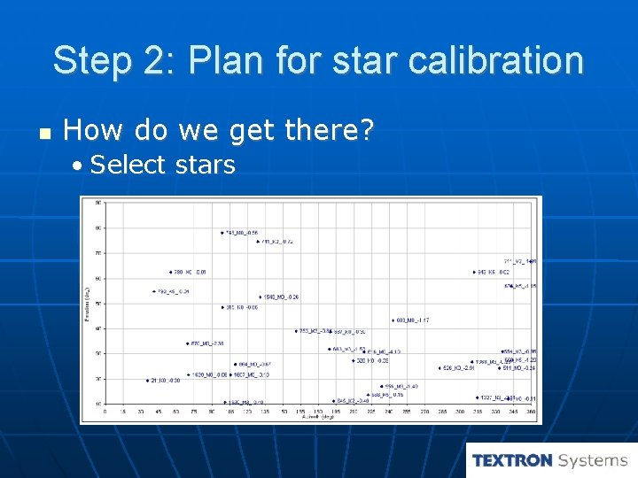 Step 2: Plan for star calibration How do we get there? • Select stars