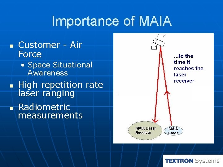Importance of MAIA Customer - Air Force • Space Situational Awareness High repetition rate