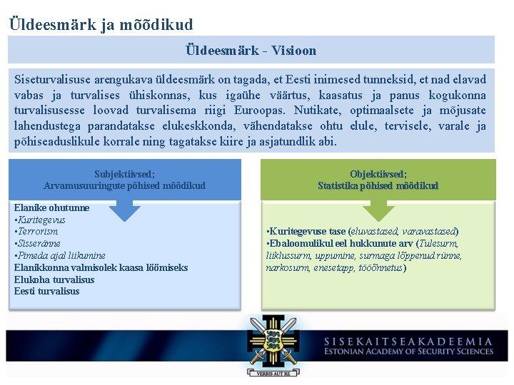 Üldeesmärk ja mõõdikud Üldeesmärk - Visioon Siseturvalisuse arengukava üldeesmärk on tagada, et Eesti inimesed