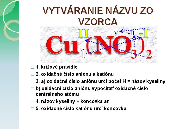 VYTVÁRANIE NÁZVU ZO VZORCA 1. krížové pravidlo � 2. oxidačné číslo aniónu a katiónu