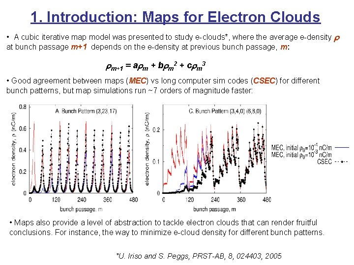1. Introduction: Maps for Electron Clouds • A cubic iterative map model was presented