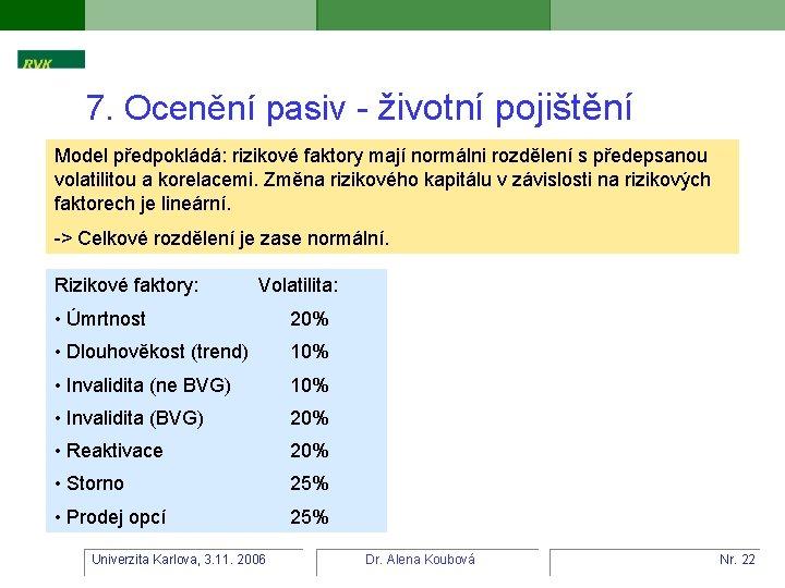 7. Ocenění pasiv - životní pojištění Model předpokládá: rizikové faktory mají normálni rozdělení s