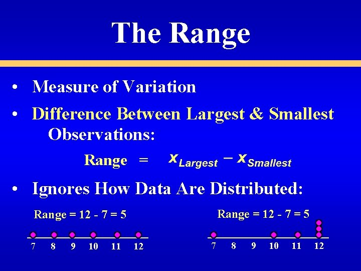 The Range • Measure of Variation • Difference Between Largest & Smallest Observations: Range