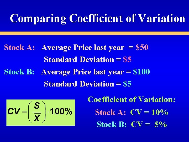 Comparing Coefficient of Variation Stock A: Average Price last year = $50 Standard Deviation