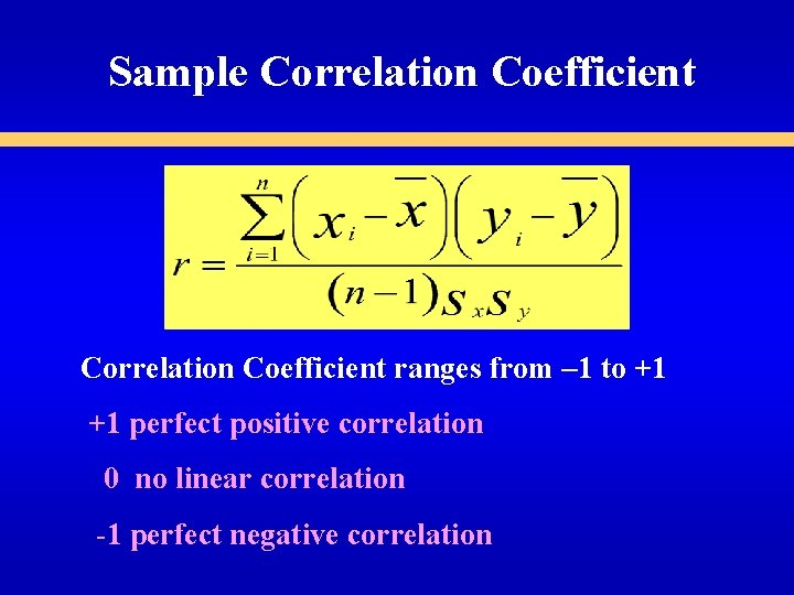 Sample Correlation Coefficient ranges from – 1 to +1 +1 perfect positive correlation 0