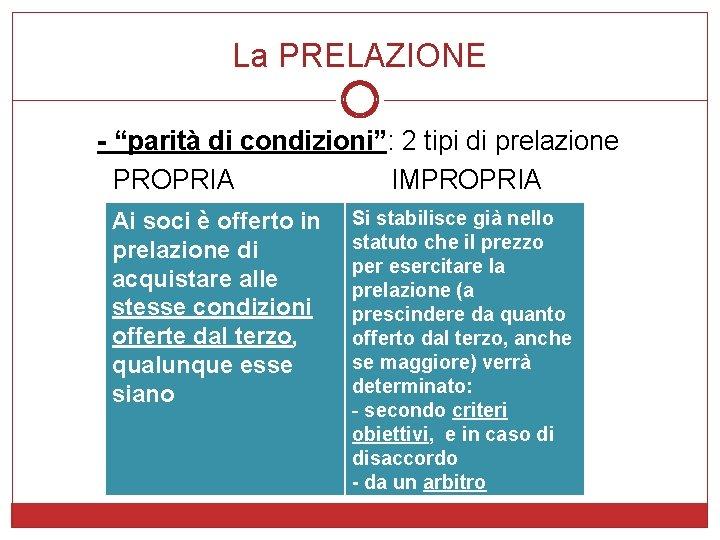 """La PRELAZIONE - """"parità di condizioni"""": 2 tipi di prelazione PROPRIA IMPROPRIA Ai soci"""