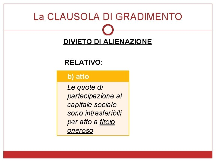 La CLAUSOLA DI GRADIMENTO DIVIETO DI ALIENAZIONE RELATIVO: b) atto Le quote di partecipazione