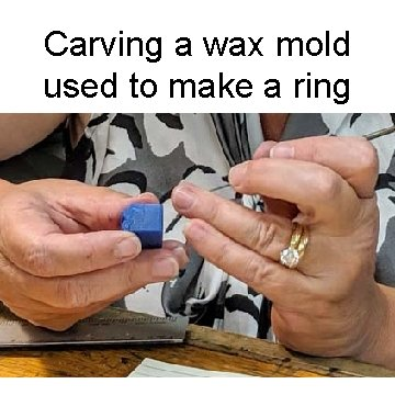 Carving a wax mold used to make a ring