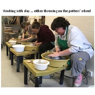 Working with clay … either throwing on the potters' wheel