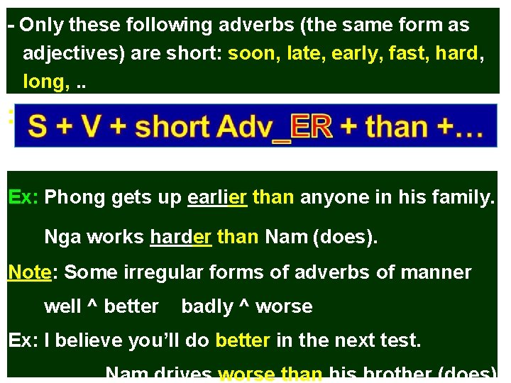 - Only these following adverbs (the same form as adjectives) are short: soon, late,