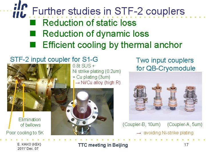 Further studies in STF-2 couplers n Reduction of static loss n Reduction of dynamic loss n Efficient
